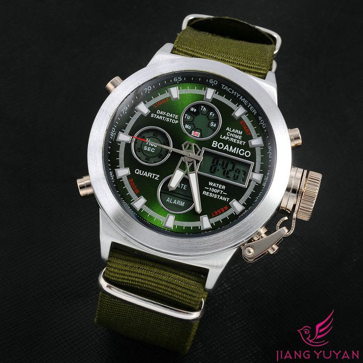 17 best ideas about mens military watches military boamigo sport analog digital dual time mens military watches nylon leather green