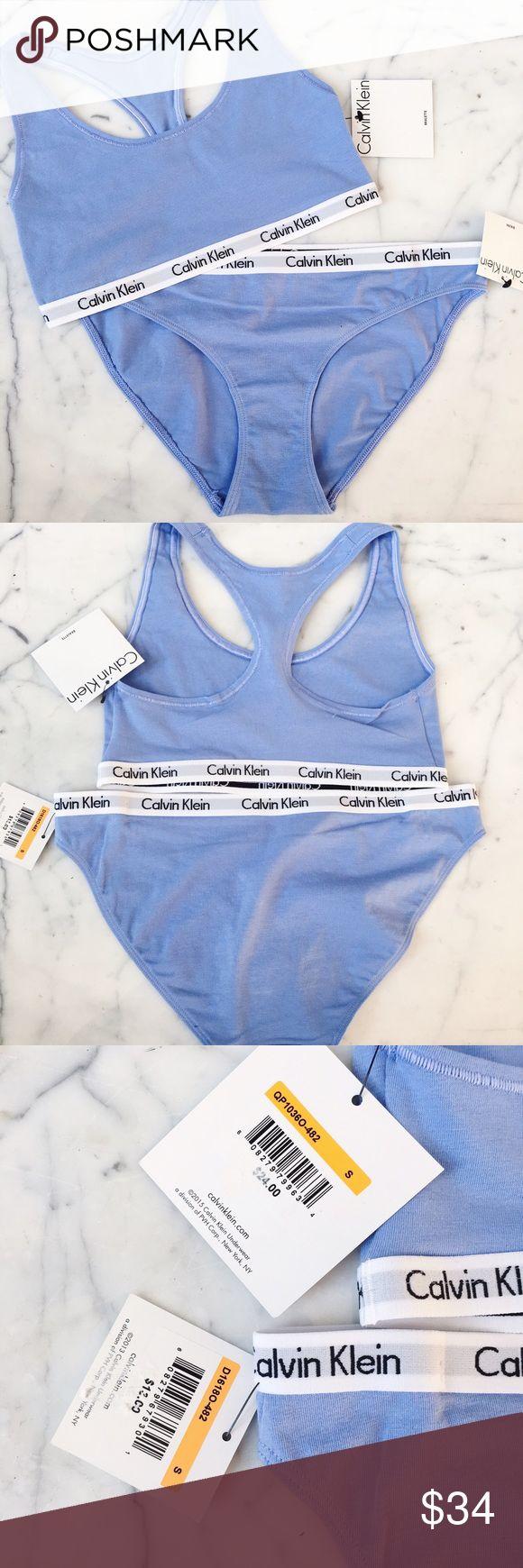 Calvin Klein Underwear Set ️️$28 shipped️️Calvin klein classic banded sports bra and underwear in periwinkle! Size s top and bottom Calvin Klein Intimates & Sleepwear Bras