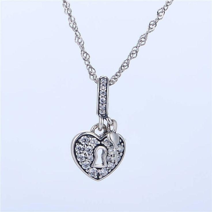 Lucchetto dell'Amore con chiave e pavè di CZ chiari Argento sterling 925 adatta misure Pandora charm Pandora bead Braccialetto europeo X128 di OceanBijoux su Etsy