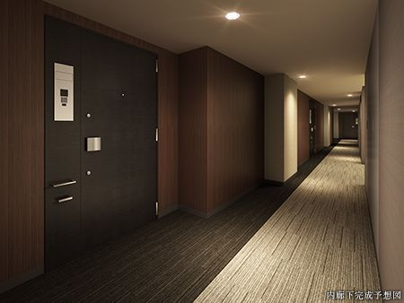 内廊下完成予想図 Apartment Hotel Corridor Corridor Lighting