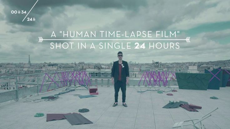"24 hours human timelapse, shot on a roof in Paris for 24 hours non-stop, 1 frame every 16 seconds, from 11am till 11am. ""The heart never sleeps..."" -- music video"