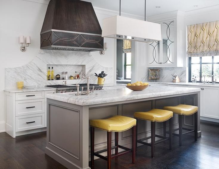 Yellow And Grey Kitchen Features A Distressed Metal Vent