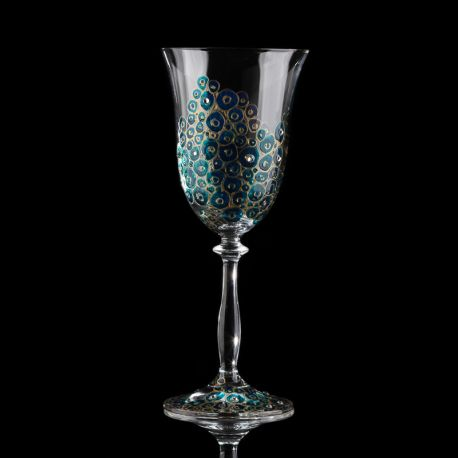 Hand-painted and decorated wine glasses with Swarovski Crystals