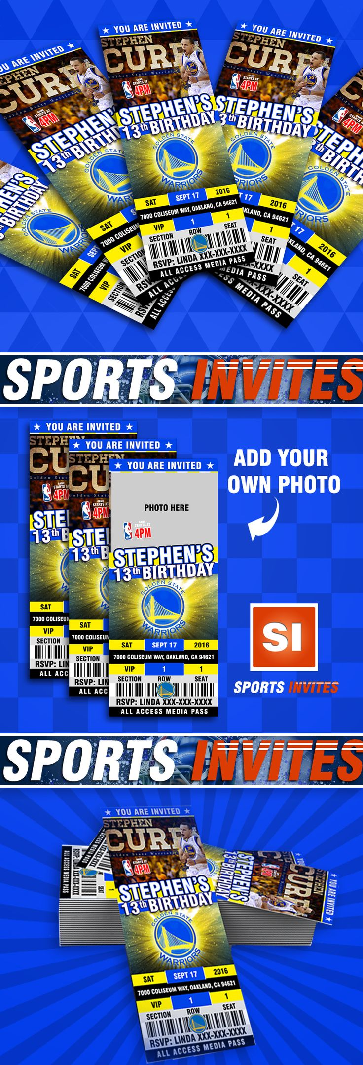 Golden State Warriors Sports Party Invitations by Sports Invites Customize anyway you like!