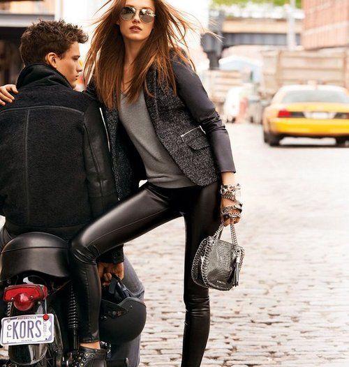 leather wool blazer, leather skinnies