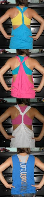 Oh, How Crafty!: DIY T-Shirt Tanks, Plan to do this to all my old tees! Cheaper than new work out clothes:)
