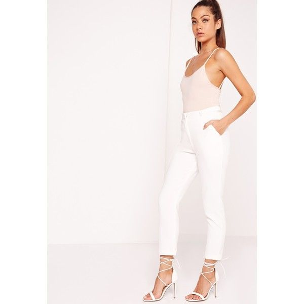 Button Detail Cigarette Trousers White ❤ liked on Polyvore featuring pants, white trousers, cigarette pants, white pants, button pants and white cigarette pants