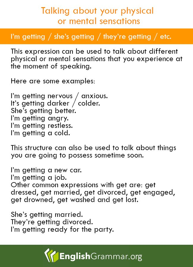 Phrases   Talking About Your Physical Or Mental Sensations