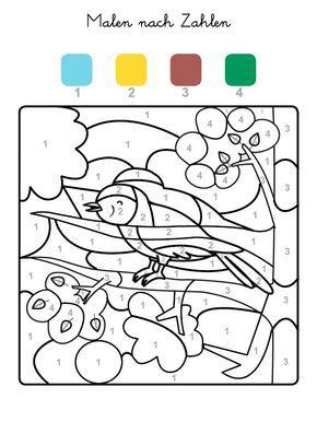 ausmalbild malen nach zahlen: vogel ausmalen kostenlos ausdrucken | malen nach zahlen kinder