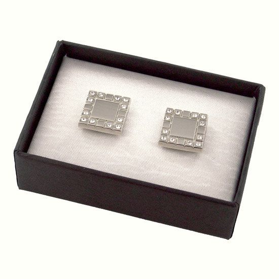 Monogrammed Shiny Silver Metal Cufflinks w/ Crystals Initial custom cufflinks for men personalized wedding Groomsmen cufflinks
