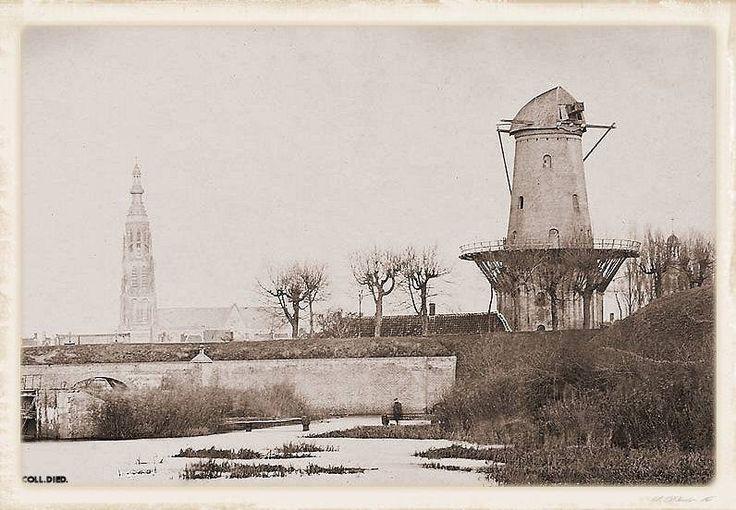 Breda Vestingstad, Het Noord Bastion met Windmolen het Fortuijn en links de grote Sluis, circa 1865.