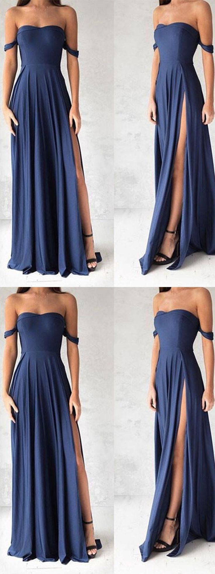 Sweetheart Neck Off Shoulder Blue Chiffon Prom Dress, Blue Bridesmaid Dress, Formal Dress #offshoulder #prom #promdress #prom2018 #prom2k18 #navybluepromdress #bluepromdress #bridesmaiddress #bluebridesmaiddress #bluedress