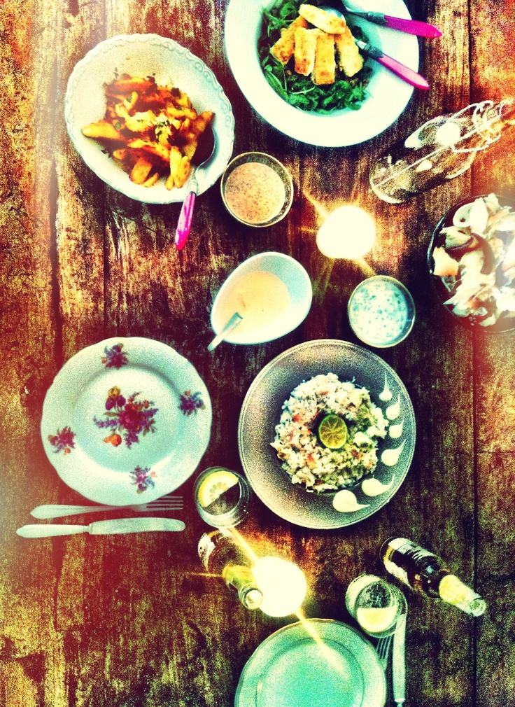 My b-day dinner from my personal chef & boyfriend Mark -> crab with lime dip & roast potato with coriander yoghurt, love it!