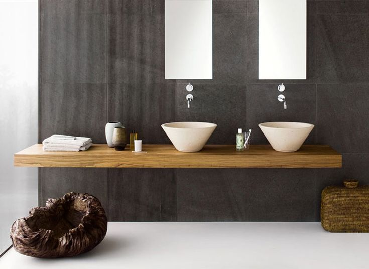 """contemporary bathroom double vanity shelf in richly grained wood against matte textured charcoal grey """"Graffiti"""" tiles - Neutra - Elegance Collection"""