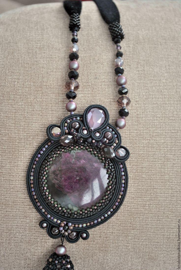Купить Сутажный кулон с эвдалиатом - комбинированный, Кулон ручной работы, кулон натуральный камень, кисточка