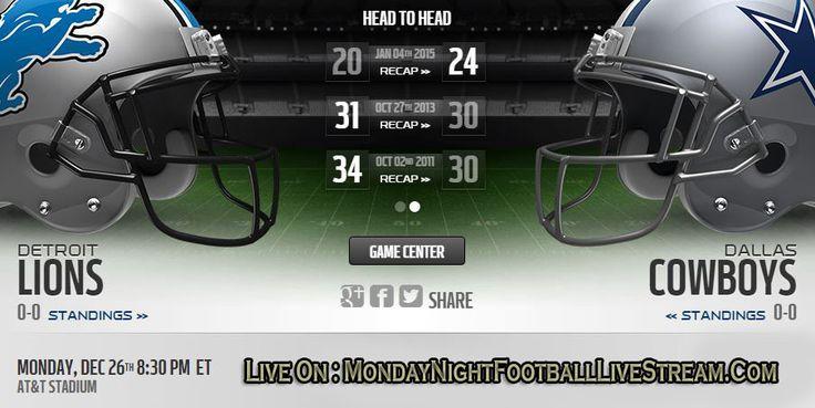 Lions vs Cowboys Monday Night Football Live Stream