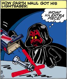 Cause he's got a double-bladed lightsaber. Funny