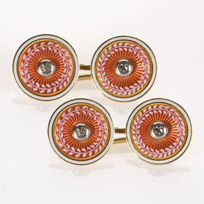 Guilloche enamel and diamond cufflinks set in platinum