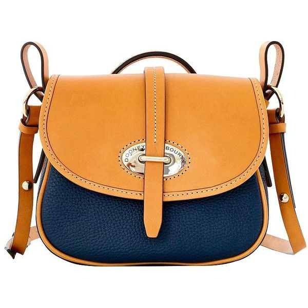 Dooney & Bourke Verona Bionda Cristina Leather Saddle Bag (15.485 RUB) ❤ liked on Polyvore featuring bags, handbags, shoulder bags, midnight blue, leather saddle bag purse, real leather handbags, orange handbags, leather purses and orange purse