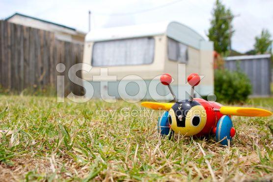 Kiwiana Childhood Background; Buzzy Bee and Caravan royalty-free stock photo