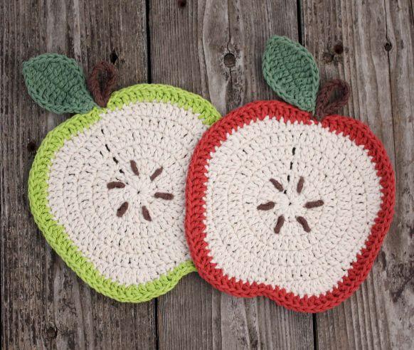 Come fare delle presine a uncinetto a forma di mela.   Spiegazioni in italiano.