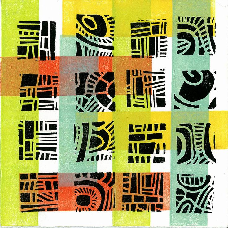 Mod Pattern 4 - Linocut Relief Print Monoprint. by Margaret Rankin