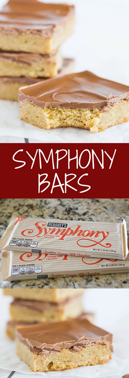 Symphony Bars - I revamped this recipe to use a stripped-down version of my favorite blondies as the base, then topped with broken-up Symphony chocolate bars and spread until they melt!
