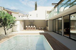Simulación 3d interactivo Casa patio posterior alberca