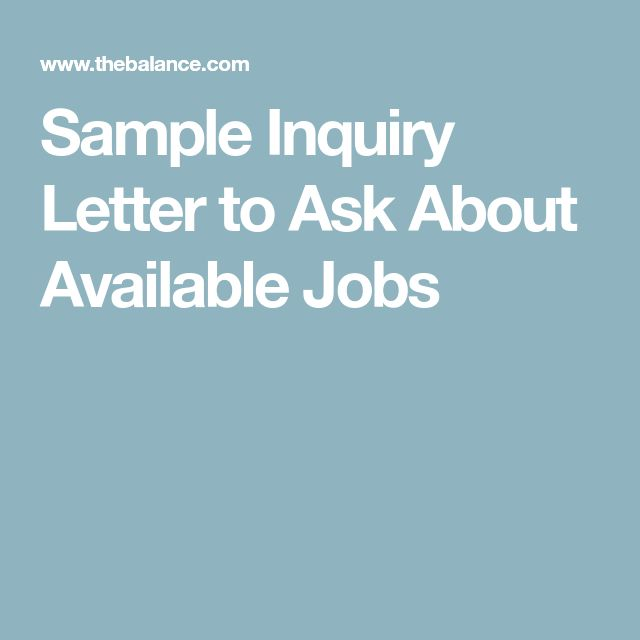 Sample Inquiry Letter to Ask About Available Jobs