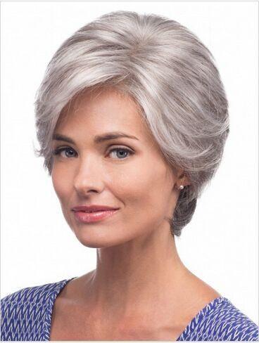 Серый короткий Парик Прямо серебро боковые удары мода Жаропрочных синтетический серый прически волос парики для старых Женщин Пожилая Дама
