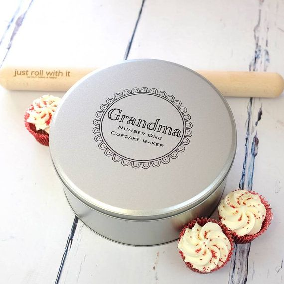 Cake Tin with Printed Personalisation  Personalized by auntiemims