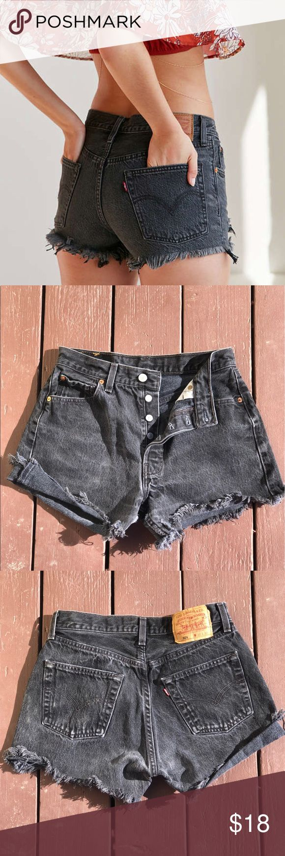 Levi's 501 Black Cut Off Shorts W30 L32 🏖 Levi's distressed black frayed cut off denim shorts. 4 buttons concealed. Size W30 x 32L.  No defects. Be beach or festival ready for cheap. 🤑 Levi's Shorts Jean Shorts