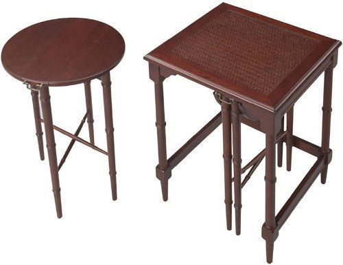 Traditional Accents Mindoro Nesting Tables by Traditional Accents. $310.00. Exceptional value for this set of three, including two hanging nesting tables For traditional and transitional decors as side tables or TV trays Made of plantation grown hardwoods and other wood products Large table dimensions - 24''H x 16''W x 16''D Small table dimensions - 22-1/2''H x 14''Dia