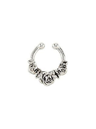 Silver Roses Faux Septum Ring,