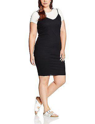24, Black, New Look Curves Women's Midi Slip Short Sleeve Dress NEW