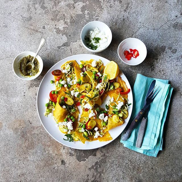 Final one - promise! Open lasagne using chickpea pancakes as the pasta + garden vegetables, mint…