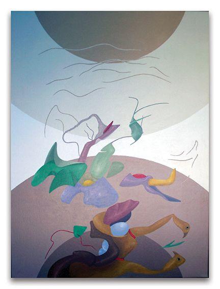 2002- Una coppia di uccelli, acrilici su tela, cm  80x60
