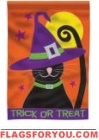 Cat In Hat Applique Garden Flag