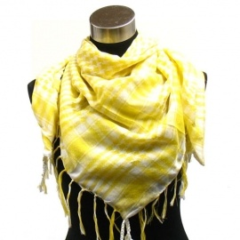 Yellow and White Fashion Houndstooth Fringe Shemagh Scarf $14.00