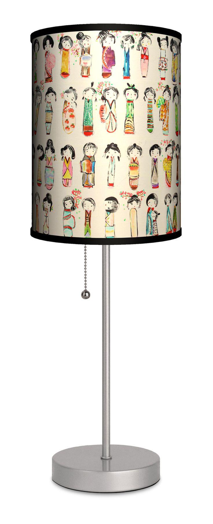 "Lamp-In-A-Box Artist Alexandra Gjurasic ""Kokeshi Dolls"" 20"" H Table Lamp with Drum Shade & Reviews | Wayfair"