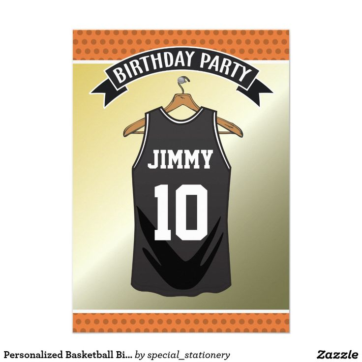Personalized Basketball Birthday Party Card