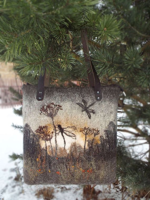 Felted Bag Handbag Purse Felt Eco handmadered bag by LarisaErmak