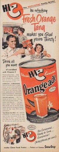 "Description: 1950 HI-C ORANGE-ADE vintage print advertisement ""Its refreshing Fresh Orange Tang makes you Glad you're Thirsty!"" ""Drink all you want ... it's enriched with Vitamin C. Another Clinton Foods Product ... Packers of Famous Snow Crop"" Size: The dimensions of the half-page advertisement are approximately 5.5 inches x 14 inches (14 cm x 36 cm). Condition: This original vintage advertisement is in Very Good Condition unless otherwise noted."