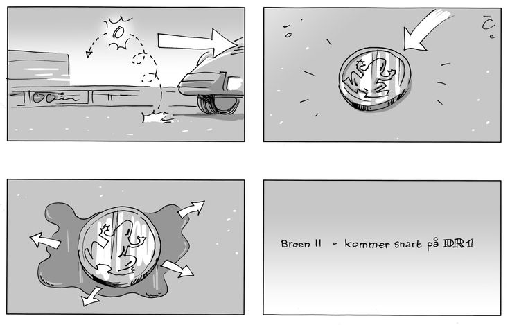 Storyboard. Broen II - teaser. Marker and digital grey. Client: Danmarks Radio. Storyboard: Comoll