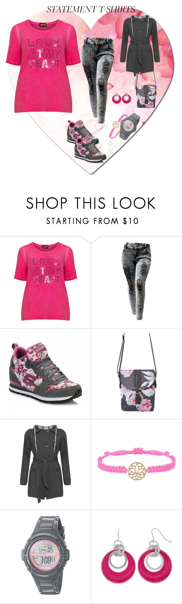 """""""Say What: Statement T-Shirts"""" by miriam-witte ❤ liked on Polyvore featuring aprico, Skechers, Joules, WearAll and Accessorize"""