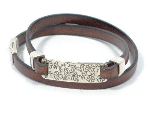 Women engraved leather bracelet * women leather bracelet * flower engraved bracelet * brown wrap leather bracelet * gift for mom by CozyDetailz on Etsy