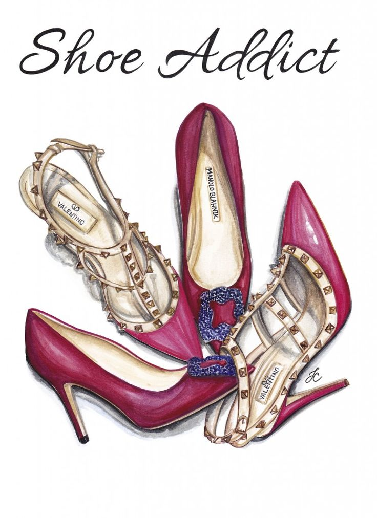 Shoe Addict illustration features two pairs of luxury pumps. Valentino Rockstuds and Manolo Blahnik in deep magenta color