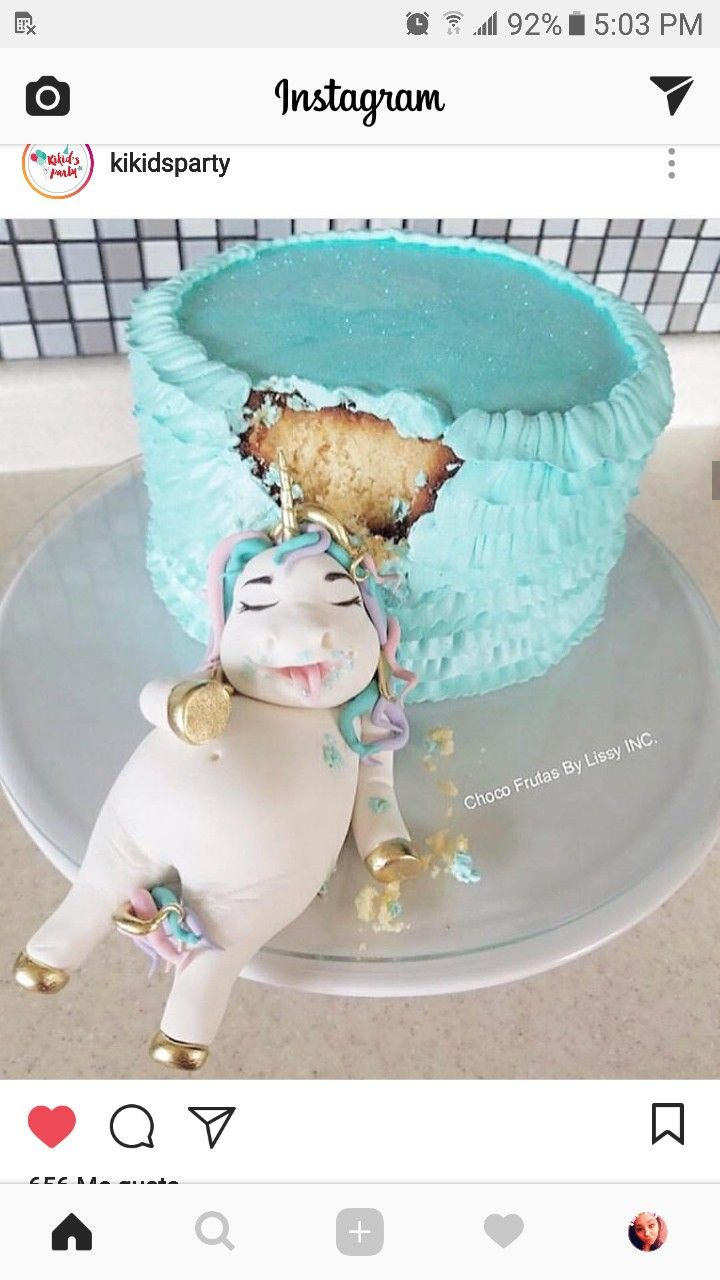 Fat unicorn ate the cake. Birthday cake idea.