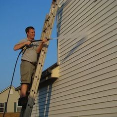 How to Clean Vinyl Siding - Power-washer • 70% water, 30% white vinegar makes a great all-purpose cleanser that removes light mold and mildew stains.