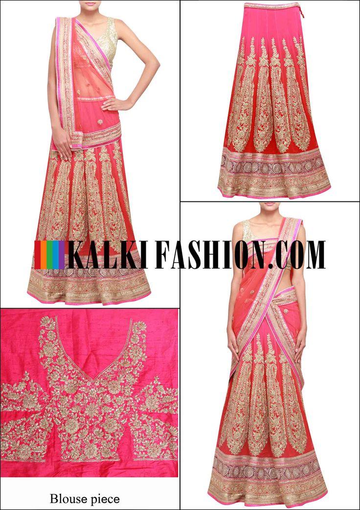 Get this beautiful lehenga here: http://www.kalkifashion.com/scarlet-red-lehenga-adorn-in-pita-zari-work-only-on-kalki.html Free shopping worldwide.